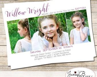 LDS Baptism Invitation Girl,  Modern  Picture Invite, Girl Baptism Invite with Pictures,  Baptism Invite, LDS Baptism