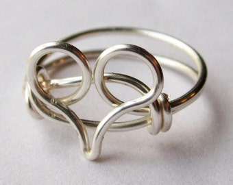 Heart Ring Silver Jewelry - gifts under 10 - stocking stuffer