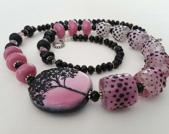 STAND TALL - Artisan Lampwork Glass Bead Necklace in Pink and Black