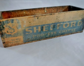 RARE Vintage Shefford Process Cheese Wooden Box - 1930s - Green Bay, Wis., collectible, wooden crate, dairy, brick American cheese blend