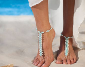 Blue barefoot sandals, Beach wedding bridal shoes, Footless sandals, Destination wedding ideas, Foot crystal jewelry, High quality gift