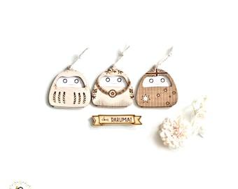 Mini Wooden Daruma - Lasercut Goal-Setting Japanese Good Luck Ornament