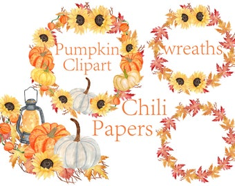 Pumpkin Watercolor Wreaths Clipart,Thanksgiving Clipart,Autumn Clipart,Halloween clipart,Autumn wreaths,Watercolor sunflowers, invitation