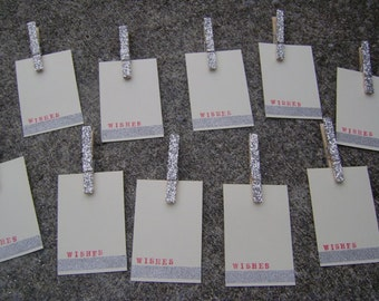 wishes . silver glitter . Christmas . holiday . tags