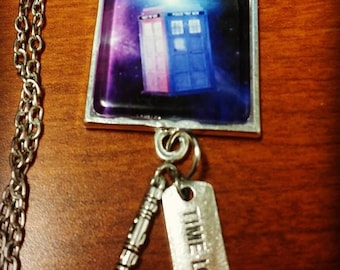 Doctor Who Necklace, Timelord, sonic screwdriver, doctor who charms, Tardis necklace, police box, cabochon necklace