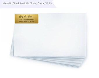 Clear Address Labels- Clear Return Address Labels- Wedding Address Labels- Gold Address Label- Gold Return Address Label- Silver Address