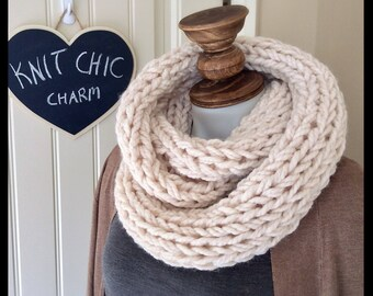 Infinity scarf. Handknit.  Gift for her.