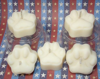 Paw Print Tea Light Candles    Scented Soy Wax Candles  Choose Your Scent
