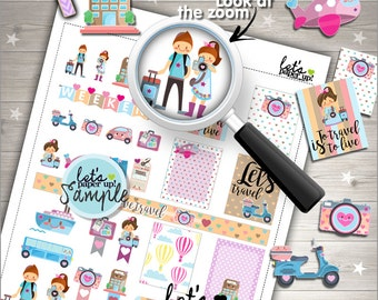 60%OFF - Travel Stickers, Printable Planner Stickers, Luggage Stickers, Kawaii Stickers, Vacation Stickers, Planner Accessories, Trip, Cute