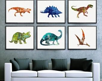 Watercolor Dinosaur Art, Set Of 6 Prints, Dinosaur Watercolor Print, Dinosaur Wall Decor, Dinosaur Nursery Decor, Baby Boy Nursery, Boy Room