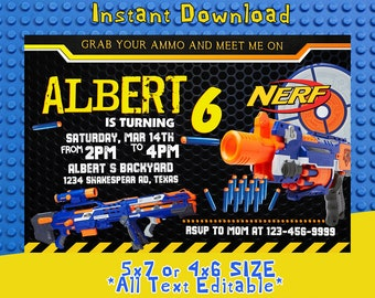 Nerf Invitation, Nerf Birthday, Nerf Party, Nerf Card, Nerf Invite, Nerf Birthday Party, Nerf Birthday Invitation,F0235