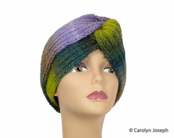 Sicily, Purple, Blue, and Gray Beautiful Turban Style Hat