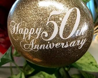 50th Anniversary ornament-Glittered & Personalized