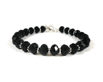 Black Crystal Bracelet, Black Crystal Tennis Bracelet, Black and Silver Beaded Bracelet, Handmade Women's Jewelry, Gift for Her, Gift Idea