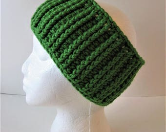 Womens Green Crochet Ear Warmer, Ribbed Crochet Headband, Green Crochet Headband, Green Ear Warmer, Crochet Head Wrap, Womens Ear Warmer