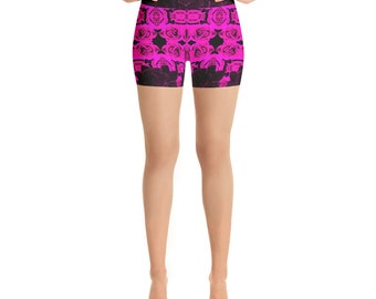 Wild Purple Roses Yoga Shorts