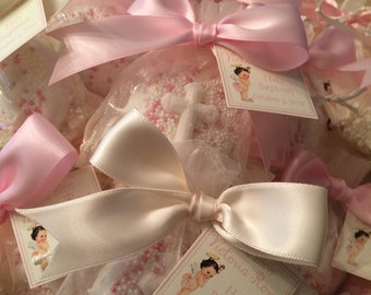 First Communion, Baptism, Confirmation or Christening Favor, Chocolate Dipped cookie with Cross in Organza Bag, Personalized Tag and Bow