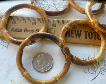 """Macrame Rings 60MM real bamboo O rings textured Round 45mm 1.75"""" opening 2 3/8"""" buckle 4 pieces purse strap Retro altered art"""