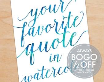 Custom Quote Print, Personalized Art Print, Watercolor Print, Handwriting, Bathroom Decor, Custom Art Print, Script