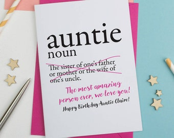 Aunt greeting card etsy personalised auntie card dictionary aunt dictionary card aunt birthday card card for aunty card for auntie birthday card m4hsunfo