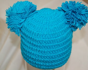 Adorable Knit Pom Pom Hat, Photo Prop, Baby Girl, 3-6 months, Teal