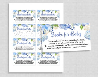 Books for Baby Printable Cards, Blue Watercolor Floral Baby Shower, Invitation Inserts, Baby Boy, DIY Printable
