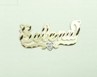 name plate  14k with one diamond     .  solid gold  chain.