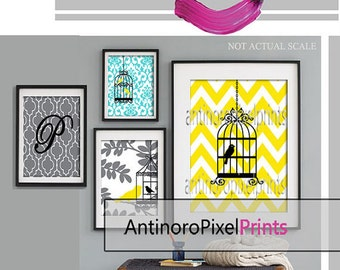 Personalized Letter, Bird Collage Yellow Blue Greys Art Wall Gallery Print  -Set of (4) -  Prints - (1) 16x20,(2) 8x10, (1) 5x7, (UNFRAMED)