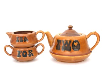 TEA FOR 2 Teapot with Cream and Sugar Set in Brown