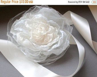 ON SALE Bridal Dress Sash. French Angel Flower. Ivory Tulle Satin. Hand Made Wedding Dress Sash. Shower Gift.  Wedding Sash