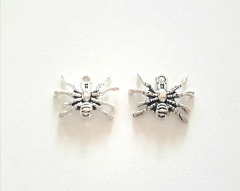 2 antique silver spider pendant charms