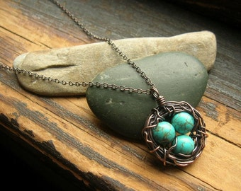 Bird nest necklace Rustic Robins Nest necklace copper nest necklace mothers day mother grandmother