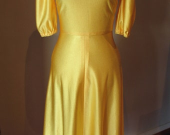 Vintage 70s does 40s Yellow Dress with Slitted Sleeves