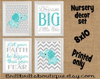 teal elephant nursery wall art safari nursery wall decor Baby boy nursery decorations Nursery Decor Kids Wall Art Nursery artwork prints