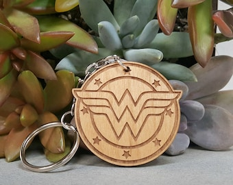 Key Chain - Wonder Woman- Wood Keychain - Laser Engraved - Diana Prince
