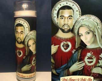 Kimye Devotional Prayer Saint Candle- Kim Kardashian & Kanye West