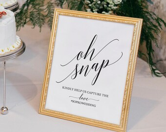 Wedding Hashtag Sign, Oh Snap Wedding Sign, Instagram Sign, Share the Love, Wedding Printable, Printable Sign, Instant Download #BPB310_30