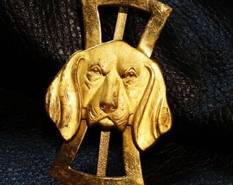 Hound Dog Buckle Vintage Brass