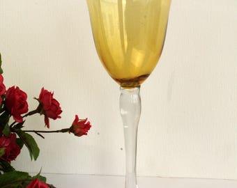 Tall Amber Wineglass Vase