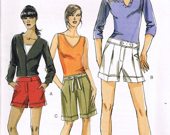 Size 6-12 Misses' Easy Shorts Sewing Pattern - Pleat Front Shorts Pattern - Bermuda Shorts Pattern - Very Easy Vogue V8365