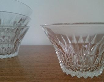 French vintage Duralex glass dessert bowls, set of 4