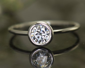 Bezel Set Engagement Ring in White Gold, 5mm/0.50ct Forever One Moissanite Solitaire, Open Profile and Stackable, Emerson One