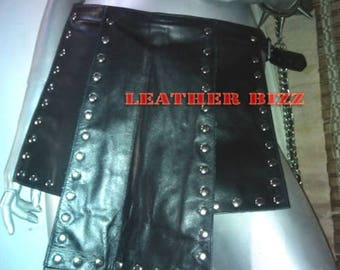 Real Leather Kilt with Metal Studs club wear