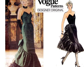80s Bellville Sassoon Evening Gown Prom Dress Pattern Vogue Designer Original 1471 Vintage Sewing Pattern Size 12 Bust 34 inches