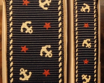 "2 Yards 3/8"" or 7/8"" Navy Nautical Anchor and Star Print Grosgrain Ribbon"