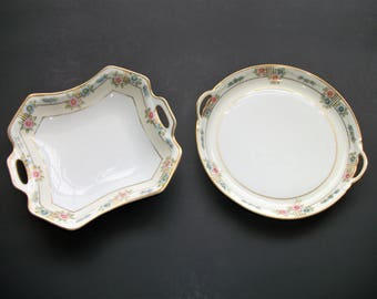Vintage Set of 2 Nippon Double Handled Dishes, Hand Painted Nippon, Nut Dishes, Serving Plates, Serving Bowls, Candy Dishes