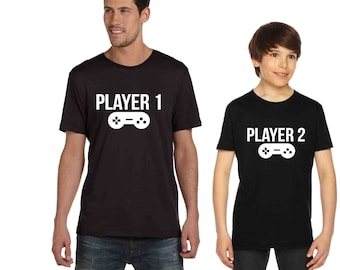Set of 2 Father Son Matching tees Player 1 Player 2 Custom Shirts, Siblings T shirts video game remote gamer shirt, gamer gift family shirts