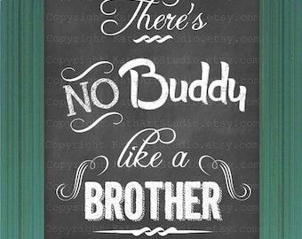Printable 16 x 20 Chalkboard Brother Digital Art Image - 16 x 20 inch PYO There's No Buddy Like a Brother Chalkboard Art Graphics AP155