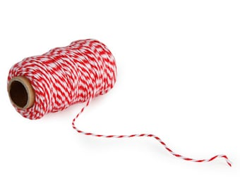 Bakers Twine - Small Roll - red /White - 105 feet   small spool red white