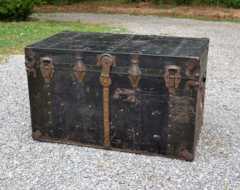 Vintage Black Metal and Wood Trunk Rustic Flat Top Steamer Trunk Storage Blanket Chest Coffee Table PanchosPorch